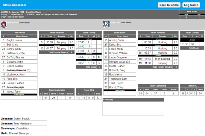 Print Official Gamesheets