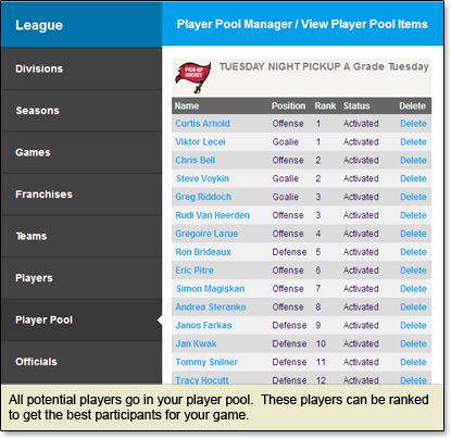 Set up your player pool